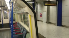 Platform of the tube station Heathrow Terminal 5 (view from the carriage) Stock Footage
