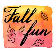 Autumn watercolor banner with hand lettering Stock Illustration