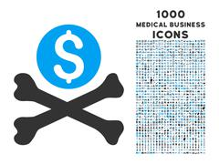 Mortal Debt Icon with 1000 Medical Business Icons Stock Illustration