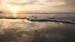 Sunrise Ocean Waves and Ripples - Slow Motion Stock Footage