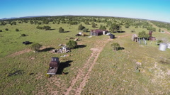 Camera Rising Over Abandoned Off Grid Homestead Ranch Stock Footage