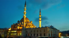 View of the mosque Yeni Cami in the sunset Stock Footage