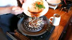 4K Korean restaurant cuisine BBQ Grilled Beef Bogogi in cooking Stock Footage