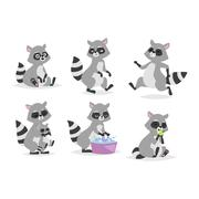 Cartoon raccoon vector illustration Stock Illustration