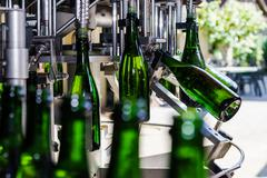 Automation bottling line for produce champagne in Alsace Stock Photos