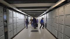 Underground luggage storage Stock Footage