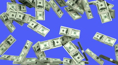 Dollars are falling. Transitions.  realistic animation. Green screen footage Stock Footage