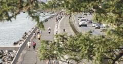 Belt Parkway and Bike Path - Brooklyn, NYC - 4k Stock Footage