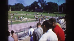 1961: a running sports track,with arrangers before the start of event IOWA Stock Footage