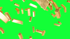Gold bars are falling. realistic animation Stock Footage
