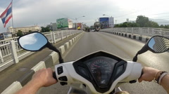 Motorcycle Ride Through Mea-Ping River and Chiang Mai, Thailand Stock Footage