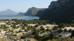 Navarino bay and Voidokilia beach in the Mediterranean area of Messinia, Greece Stock Footage
