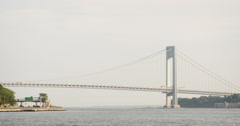 Verrazano Bridge - New York City - sunset - summer - 4k Stock Footage
