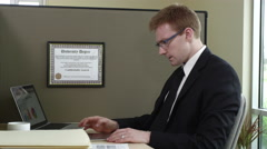 Portrait of telemarketer using tablet Stock Footage