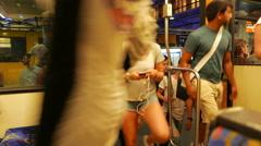 4K Commuters passengers in Tram U-Bahn Subway in Essen NRW Germany Europe Stock Footage
