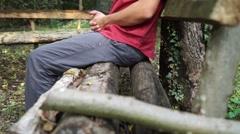 Stressed Man in garden, Autumn Stock Footage