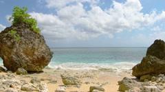 Rocks on the sea shore. Bali Island, Indonesia Stock Footage
