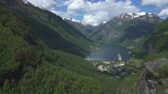 Geiranger fjord look out - Norway Stock Footage