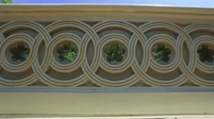 Pan of beautiful decorative concrete structure Stock Footage