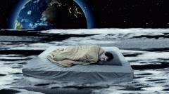 One single man waking up on moon, dream fantasy Stock Footage