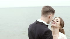 Groom Kissing Softly His Bride's Forehead Stock Footage