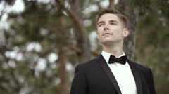 Handsome Bridegroom Looking on the Distance Stock Footage