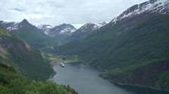 Beautiful fjord landscape in Norway, Geiranger Stock Footage