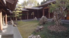 Hong Kong. Chi Lin Nunnery is a large Buddhist temple complex. Courtyard Stock Footage