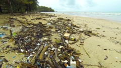 Dirt and debris on a tropical beach. Thailand, Phuket Stock Footage