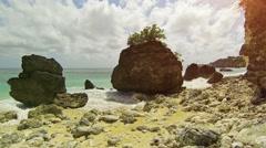 Huge boulders on the beach. Indonesia, Bali Stock Footage