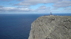 North cape landscape - steep rocky coast, Norway Stock Footage