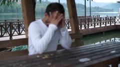 Depression alone unhappy man Stock Footage