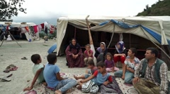 Tent, Refugee happy family Stock Footage