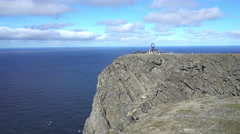 Steep rocky coast - North cap, Norway Stock Footage