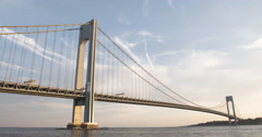 Verrazano Bridge - New York City - sunset - summer - 4k Stock Footage