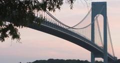 Verrazano Bridge - establishing shot - sunset - summer - 4k Stock Footage