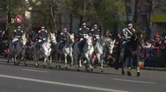 Military march during celebrations for National Day of Romania in Bucharest Stock Footage