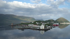 Northern Scandinavian village in a fjord - Norway Stock Footage