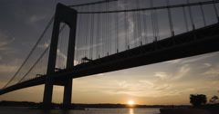 Verrazano Bridge - sunset -establishing shot - summer 2016 - 4k Stock Footage