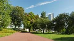 4K Essen City Park and RWE Tower NRW Ruhrgebiet Germany Stock Footage