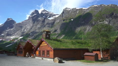 Scandinavian, northern landscape - wooden house in the mountains, Norway Stock Footage