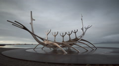 Time lapse of Solfar, the sun voyager in Reykjavik Stock Footage