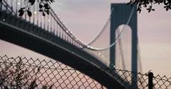 Verrazano Bridge - sunset -establishing shot - summer 2016 - 4k Stock Footage