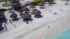 4K aerial tilt up of white sand beach of Klein Curacao in the Caribbean Stock Footage