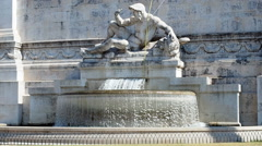 Fountain at left side of Altar of the Fatherland in Rome Italy Stock Footage