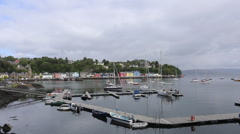 Timelapse of elevated view of Tobermory harbour, Isle of Mull, Scotland Stock Footage