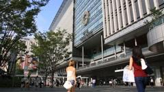 People walking around Hakata subway station in Fukuoka Stock Footage