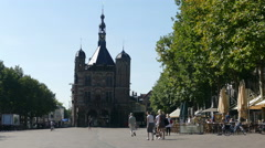 People walking on the Brink in Deventer. Stock Footage
