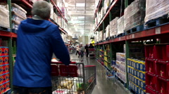 One side of people shopping inside Costco store with 4k resolution. Stock Footage