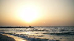 Bautiful view of sea at sunrise. Slow motion. Stock Footage